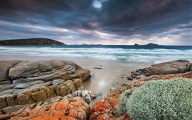 Preview wallpaper Australia, Wilsons Promontory, Whiskey Bay, sea, coast, rocks