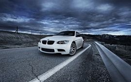 Preview wallpaper BMW M3 E92 white car, road, cloudy sky