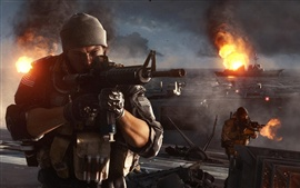 Preview wallpaper Battlefield 4, firefight at the warships