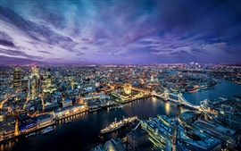 Beautiful London city at evening, lights, river, buildings, bridge