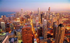 Preview wallpaper Chicago city at dawn
