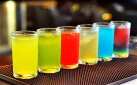 Cold drinks, colorful cocktails, glass, cups
