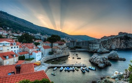Preview wallpaper Dubrovnik, Croatia, harbor, boats, sunrise, houses, sea