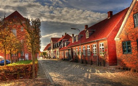 Preview wallpaper Europe buildings, houses, street, autumn morning