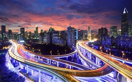 Preview wallpaper Hong Kong, China, city night lights, highway, skyscrapers, buildings