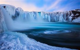 Islandia, Godafoss, cascada hermosa, hielo, nieve, invierno, azul