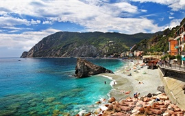 Preview wallpaper Italy, Monterosso, Cinque Terre, beach, coast, sea, rocks, houses, mountains