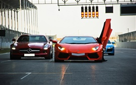 Preview wallpaper Lamborghini Aventador LP700-4, Mercedes-Benz SLS AMG, supercar, traffic lights