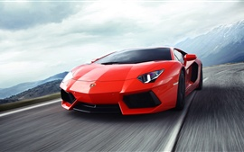 Preview wallpaper Lamborghini Aventador red supercar in the highway