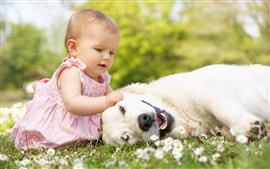 Preview wallpaper Little beautiful girl with dog