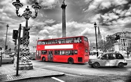 Preview wallpaper London, England, street, red bus, road, city