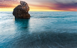 Preview wallpaper Milos Beach, Lefkada, Greece, sunrise, ocean, rock in the sea