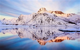 Preview wallpaper Norway, winter scenery, snow, mountains, sky, lake water, reflection