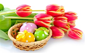 Preview wallpaper Red tulips flower with Easter eggs