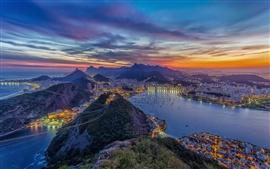 Рио-де-Жанейро, красивый ночной город, огни, океан, горы