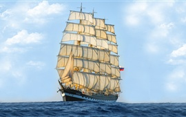 Preview wallpaper Sailing ship, sea, blue sky