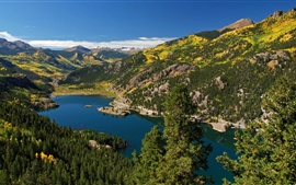 Preview wallpaper San Cristobal, lake, mountains, forest, nature scenery