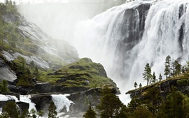 Preview wallpaper Spectacular waterfall, Small Sami Fishing Village, Norway scenery