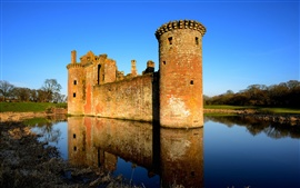 United Kingdom, Scotland, castle, lake, water reflection