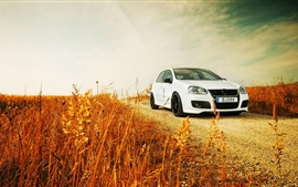 Preview wallpaper Volkswagen Golf white car, road, grass