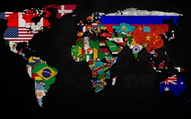Preview wallpaper World map with flag logo