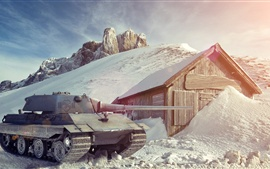 World of Tanks, inverno, neve, casa