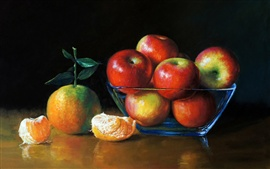 Preview wallpaper Art painting, apples and oranges