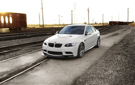 Preview wallpaper BMW M3 E92, sunset, railway