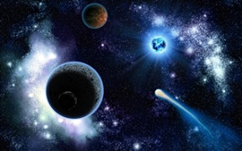 Preview wallpaper Beautiful cosmic space, planets, stars