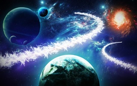 Preview wallpaper Beautiful planets, stars, galaxies