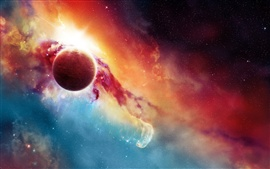 Preview wallpaper Beautiful space, planets and stars, red and blue