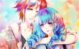 Preview wallpaper Blue hair anime girl with a boy