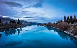 미리보기 배경 화면 푸른 자연 풍경, 산, 호수 반사
