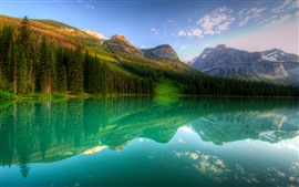Preview wallpaper Canada, Yoho, lake, forest, mountains, trees, reflection