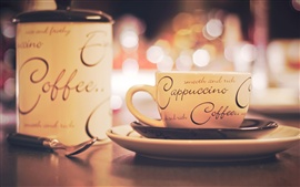 Preview wallpaper Cappuccino coffee, cup, saucer, plate, spoon
