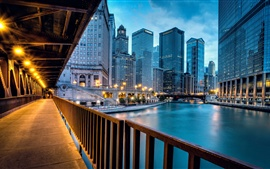 Chicago United States, city buildings, skyscrapers, evening, bridge road lights