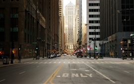 City street of Chicago in USA, skyscrapers