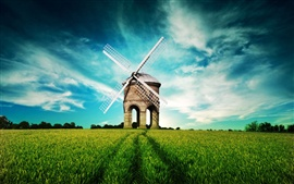 Preview wallpaper Fantasy landscape, windmill, fields, blue sky