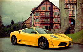 Preview wallpaper Ferrari supercar stopped at the road