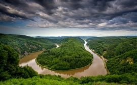Preview wallpaper Germany, Saarland, river bend, water after rain, trees, hills