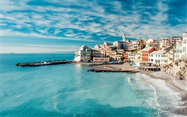Preview wallpaper Italy, Cinque Terre, beautiful sea coast landscape, houses, sky, clouds