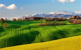 Preview wallpaper Italy nature scenery, fields, spring, rapeseed, sky