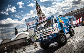 Preview wallpaper Kamaz truck, Dakar Rally, Moscow, Sky Clouds