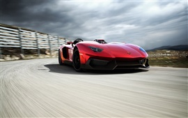 Preview wallpaper Lamborghini Aventador red supercar running speed
