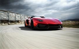 Aperçu fond d'écran Lamborghini Aventador rouge supercar vitesse de course