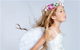 Long-haired girl, wreath, white dress, like an angel