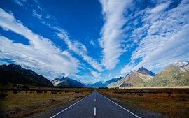 New Zealand, highway, road, mountains, blue sky, white clouds
