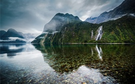 Preview wallpaper New Zealand, lake, mountains, mist, falls