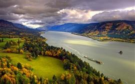 Северная Америка, Колумбия, река, осень, деревья, небо, облака, побережье
