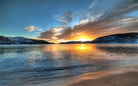 Preview wallpaper Norway scenery, lake, sunset, mountains